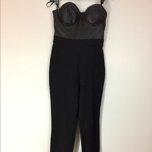 Bebe sleeveless catsuit w/ faux leather bodice